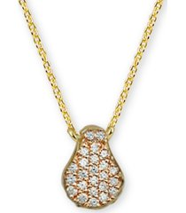 """argento vivo cubic zirconia teardrop 18"""" pendant necklace in 18k gold-plated sterling silver"""