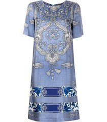 etro bandana print shift dress - blue