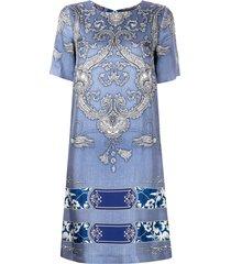 etro bandana print shift dress - blue