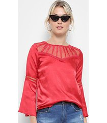 blusa top moda bata acetinada guipir manga longa feminina