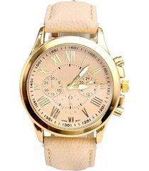 reloj para mujer analogo numeros romanos beige