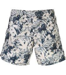 off-white floral print swim shorts - blue