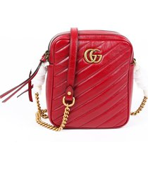 gucci matelasse tall marmont red leather double g crossbody bag red/logo sz: m