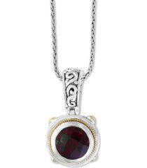 """effy garnet (3-5/8) 18"""" pendant necklace in sterling silver and 18k gold over sterling silver"""
