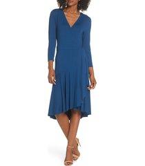 women's lilly pulitzer rozaline wrap dress, size large - blue
