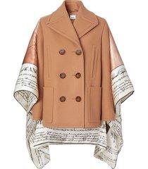 burberry mariner print blanket detail technical wool pea coat - brown