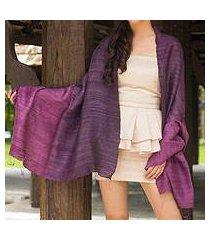 silk shawl, 'bold violet' (thailand)