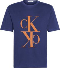 camiseta de algodón orgánico con monograma calvin klein