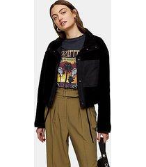 black crop fleece jacket - black