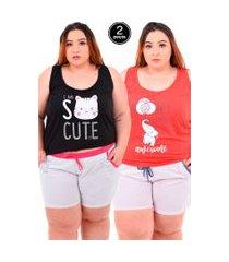 kit 2 short doll bella fiore modas pijama feminino plus size cores sortidas
