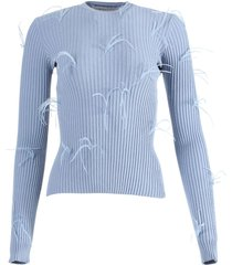 light blue feathered sweater