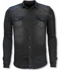 true rise biker denim shirt slim fit ribbel stonewashed
