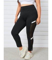 yoins plus leggings de retazos de rayas de tamaño