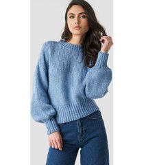 na-kd trend wide rib short knitted sweater - blue
