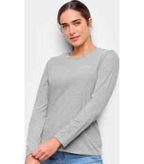 blusa calvin klein logo manga longa feminina - feminino