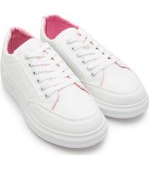 tenis blancos interior rosa color blanco, talla 36