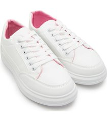 tenis blancos interior rosa color blanco, talla 36