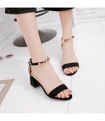 sandalias de punta abierta de tacón de moda de mujer -negro