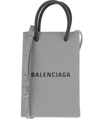 balenciaga designer handbags, black and grey shopper phone holder