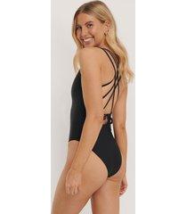 na-kd swimwear double cross strap swimsuit - black