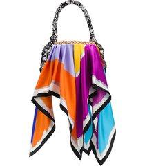 missoni scarf trim bucket bag - blue