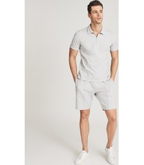 reiss barry - textured melange jersey shorts in grey melange, mens, size xxl