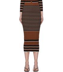 striped rib knit cotton midi skirt