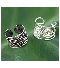 sterling silver ear cuff earrings, 'contrasts' (pair) (thailand)