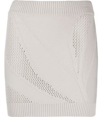 just cavalli open-knit mini skirt - neutrals