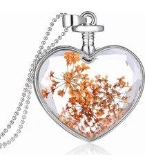 dolce fiore essiccato naturale all'interno collane di cristallo del pendente del cuore per il migliore regalo delle donne