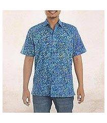men's batik cotton shirt, 'ocean waves' (indonesia)
