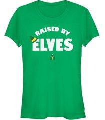 fifth sun elf buddy raised by elves text women's short sleeve t-shirt