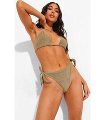 badstoffen mix & match bikini broekje met zijstrikjes, khaki