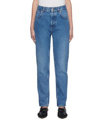 leather anagram back pocket tapered jeans