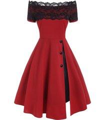 lace insert off shoulder button embellished slit party dress