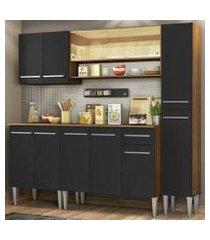 cozinha completa madesa emilly sky com armário vidro reflex e balcão - rustic/preto rustic/preto