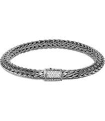'classic chain tiga' diamond silver rhodium medium bracelet