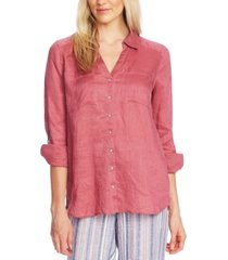 vince camuto button-front roll-tab-sleeve linen top