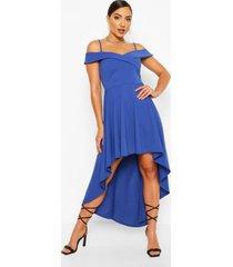 skater jurk met bandjes, losvallende zoom en hartvormige hals, marineblauw