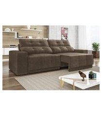 sofá 4 lugares net jaguar assento retrátil e reclinável marrom 2,30m (l)