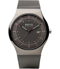 bering men's, slim solar stainless case and mesh watch