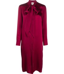 l'autre chose pussy-bow shirt midi dress - red