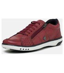 tênis masculino torani sapatênis confortável couro vermelho bordô
