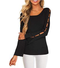 yoins black round neck long sleeves cut out tee