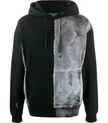 a-cold-wall* brushed bleach-effect cotton hoodie - black
