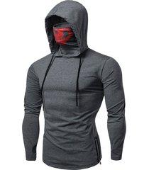 fashion drawstring scare mask hoodie for man