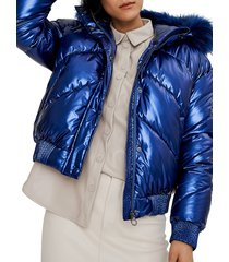 noize outerwear co. women's chevron faux fur-trimmed quilted bomber jacket - silver - size xl