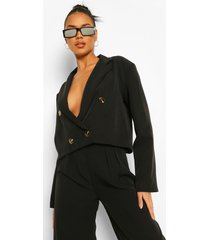 double breasted oversized cropped blazer, black