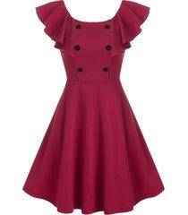 butterfly sleeve back v mock button mini a line dress