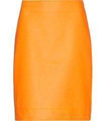 ashley williams high-waisted vinyl mini skirt - orange
